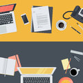 Set of flat design illustration concepts for online education, staff training, courses Royalty Free Stock Photo