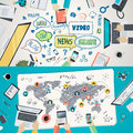 Set of flat design illustration concepts for social network Royalty Free Stock Photo