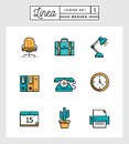 Set of flat design line icons of office elements