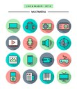 Set of flat design,long shadow, thin line multimedia icons Royalty Free Stock Photo