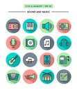 Set of flat design long shadow thin line sound and music icons vector illustration Stock Photography