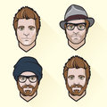 Set of flat design men s portraits vector illustration Royalty Free Stock Photos