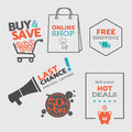 Set 2 of flat design sale icons and badges for web and mobile shopping - vector eps8