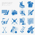 Set of flat design sport icon with isolated blue silhouette inventory and sports equipment Stock Photos
