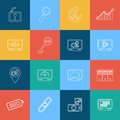 Set of flat design style concept outline seo icons Royalty Free Stock Photo