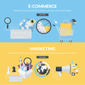 Set of flat design style concepts for business and marketing Royalty Free Stock Photo
