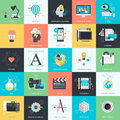 Set of flat design style icons for graphic and web design Royalty Free Stock Photo