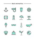 Set of flat design, thin line beach and nautical icons Royalty Free Stock Photo