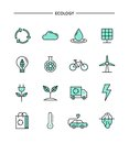 Set of flat design, thin line ecology icons
