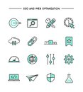 Set of flat design, thin line seo and web optimization icons