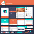 Set of flat design UI and UX elements for website and mobile app design Royalty Free Stock Photo