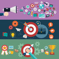 Set of flat design vector illustration concepts for website layout, mobile phone services and apps, computer tablet Royalty Free Stock Photo