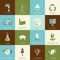 Set of flat designed ecology icons for web and mobile Stock Image