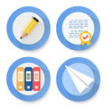 Set of flat document icons vector illustration Stock Photos