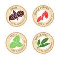 Set of flat essential oil labels. 100 percent. Bay leaves, basil, black pepper, mint