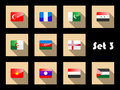 Set of flat flag icons of Eastern countries Stock Image