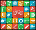 Set of flat icons of bicycle spare parts.