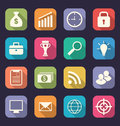 Set flat icons of business, office and marketing items, style wi Royalty Free Stock Photo