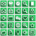 Set of flat icons with long shadows white on green Royalty Free Stock Image