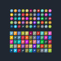 Set of flat icons for mobile app and web vector Stock Photo