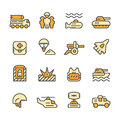 Set line icons of army