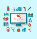Set flat icons of objects and equipments medicine laboratory Royalty Free Stock Photo