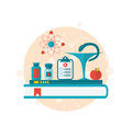 Set flat icons of objects medicine laboratory, concept of health Royalty Free Stock Photo