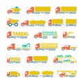 Set flat icons of trucks trailers and vehicles isolated on white Stock Photo