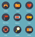 Set of Flat Icons Vector Illustration Royalty Free Stock Photos