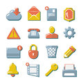 Set flat icons of web media and business internet mobile communication isolated on white Royalty Free Stock Photo