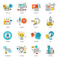 Set of flat line design business icons vector illustration concepts for graphic and web and development isolated on white Royalty Free Stock Images