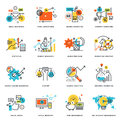 Set of flat line design icons of internet marketing and online business