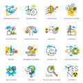 Set of flat line design icons of nature, ecology, green technology and recycling Royalty Free Stock Photo