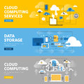 Set of flat line design web banners for cloud computing services and technology, data storage Royalty Free Stock Photo