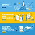Set of flat line design web banners for company startup, finance, bookkeeping and accounting, business research and analysis