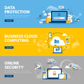 Set of flat line design web banners for data protection, internet security