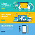 Set of flat line design web banners for distance education, online learning, video tutorials