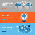 Set of flat line design web banners for education, learning process, brainstorming, exchanging ideas Royalty Free Stock Photo
