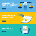 Set of flat line design web banners for investment in knowledge