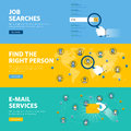 Set of flat line design web banners for job searches, human resources, e-mail services Royalty Free Stock Photo