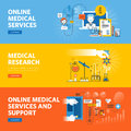 Set of flat line design web banners for online medical services and support Royalty Free Stock Photo