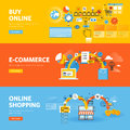 Set of flat line design web banners for online shopping, e-commerce Royalty Free Stock Photo