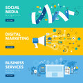 Set of flat line design web banners for social media, internet marketing, networking and business services