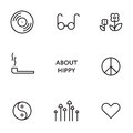 Set of flat line hippy icons. Modern pictograms Royalty Free Stock Photo