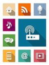 Set of flat media icons and communication Stock Photo