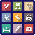 Set of flat medical icons colorful and healthcare depicting a syringe nurse stethoscope bandages plasters dna molecule ambulance Royalty Free Stock Photography