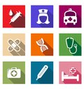 Set of flat medical icons healthcare and Stock Photos