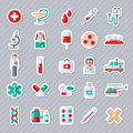 Set of Flat Medical Icons Stickers. Royalty Free Stock Photo