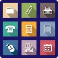 Set of flat office icons Royalty Free Stock Images
