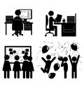 Set of flat office internal communications icons isolated on whi white background Stock Photography